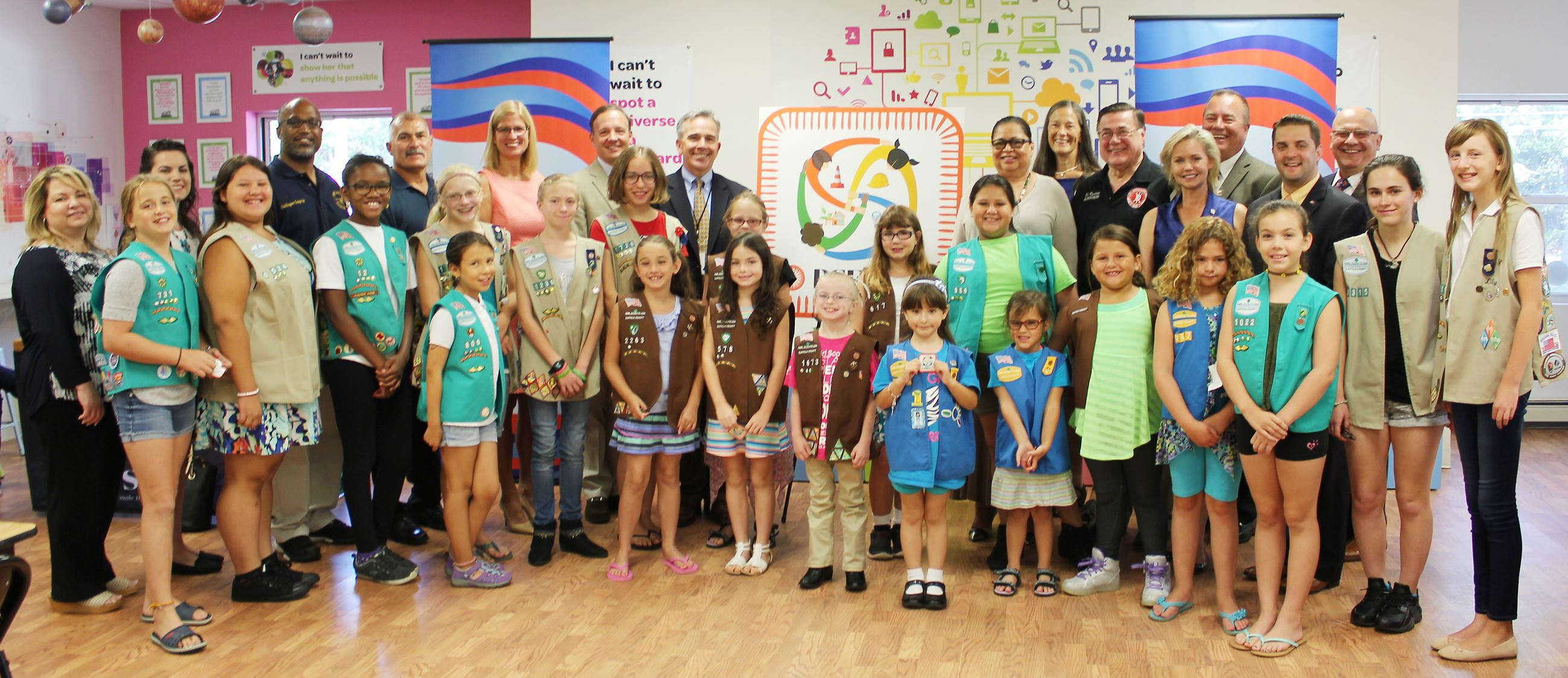 Large group of girl scouts attend event for new patch program.