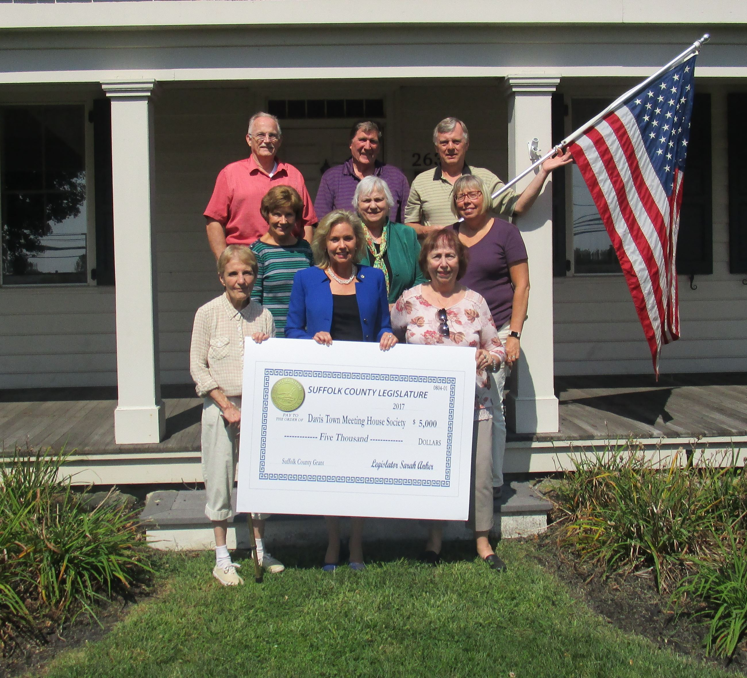 Davis House Society Meeting House Society received grant check from Suffolk County Legislator.