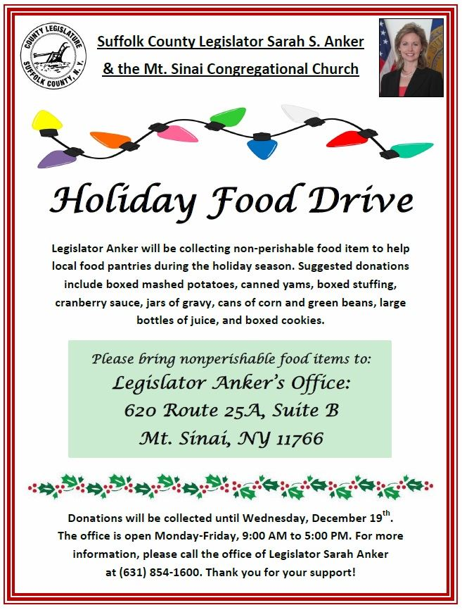 Flyer for Legislator Anker's Holiday Food Drive