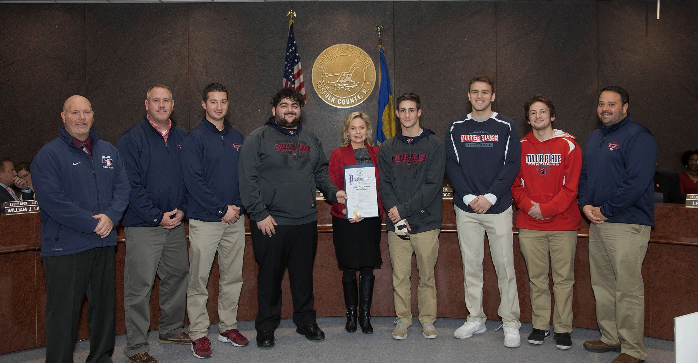 Members of the Miller Place Football Team were honored with a proclamation from Legislator Anker.