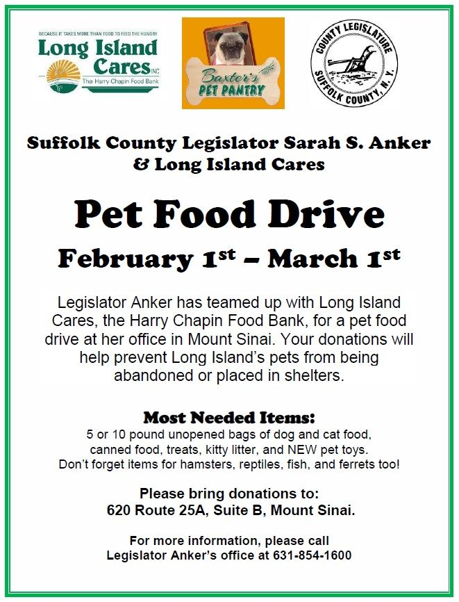 Flyer for Legislator Anker' Pet Food Drive
