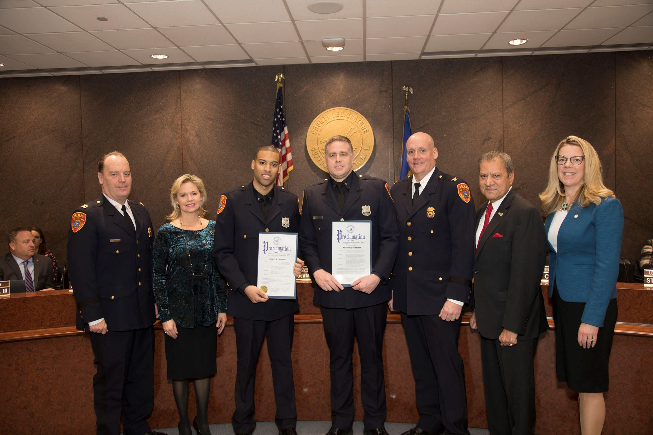 Officer Negron and Officer Schneider received proclamations for their service to the police departme