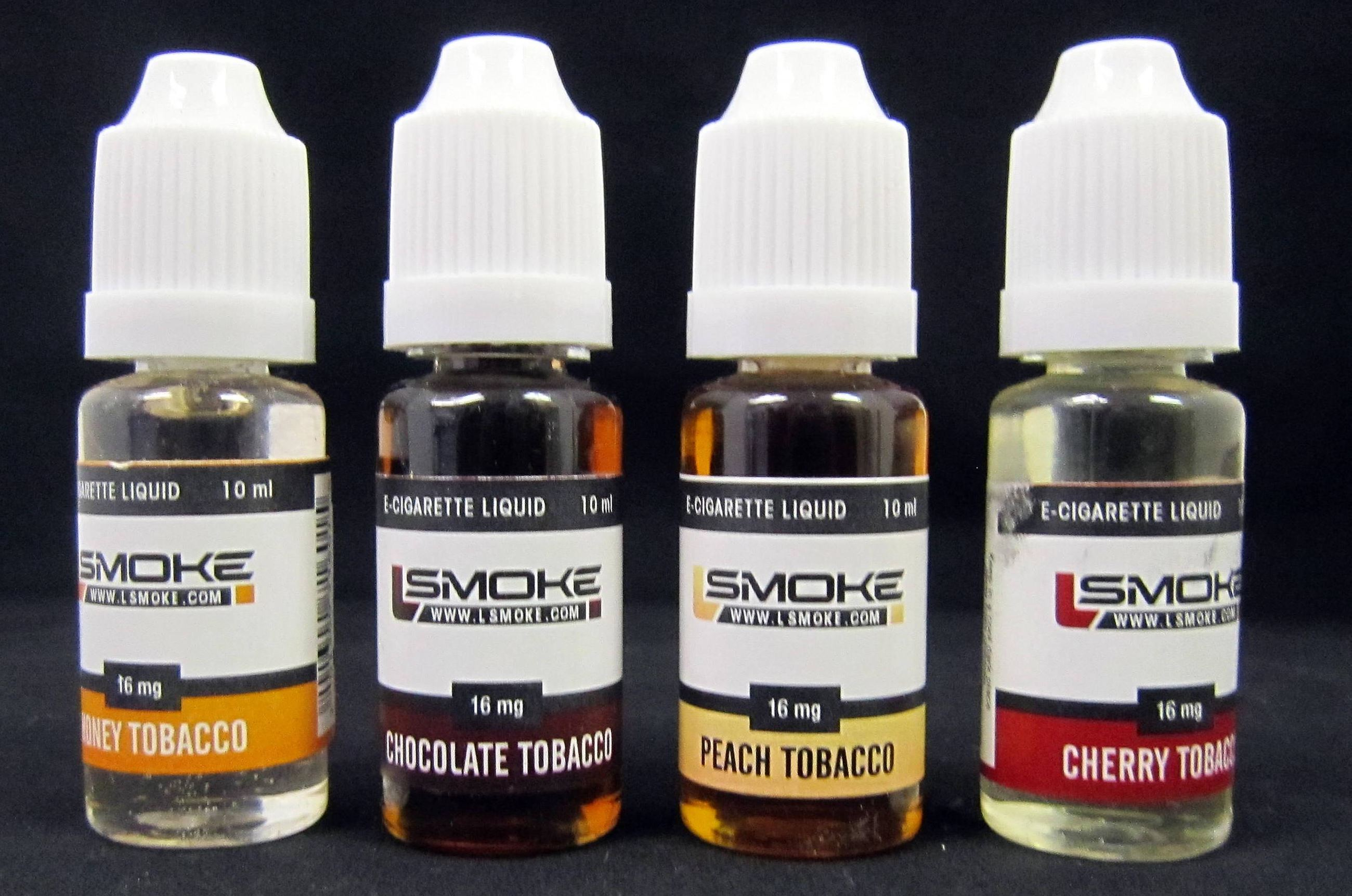 Example bottles of liquid nicotine.