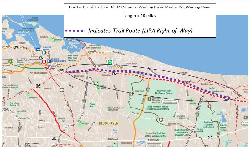 Map of the Rails to Trails project from Port Jefferson to Wading River.