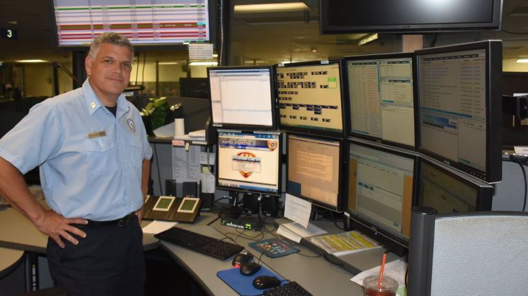 Anthony Bocchimuzzo at the 911 Call Center in Yaphank.