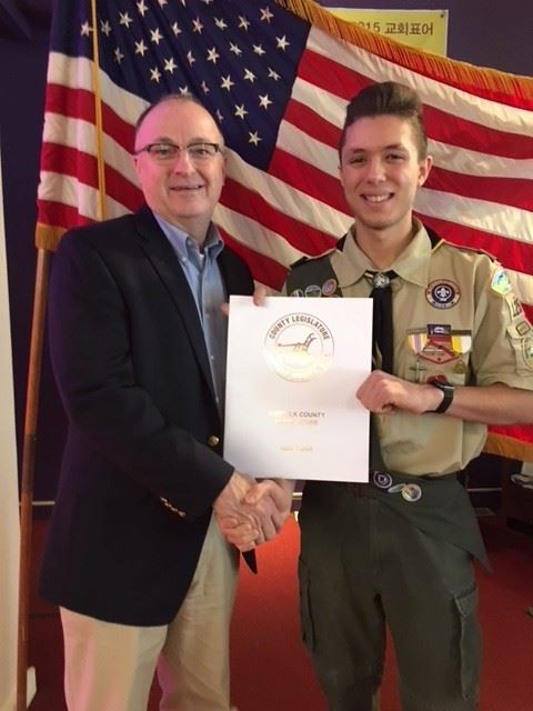 Suffolk County Legislator Rob Trotta recognized Eagle Scout Frank Mastroianni