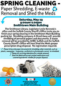 05/19/2018 Spring Cleaning - Paper Shredding, E-Waste Removal & Shed the Meds