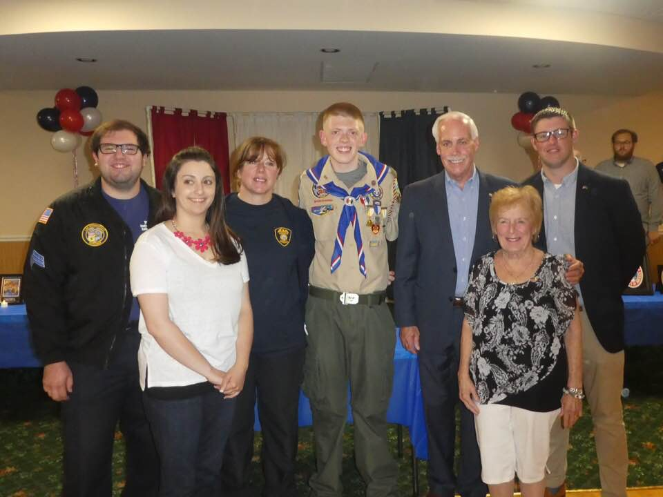 Legislator McCaffrey and Eagle Scout Kyle McCarthy
