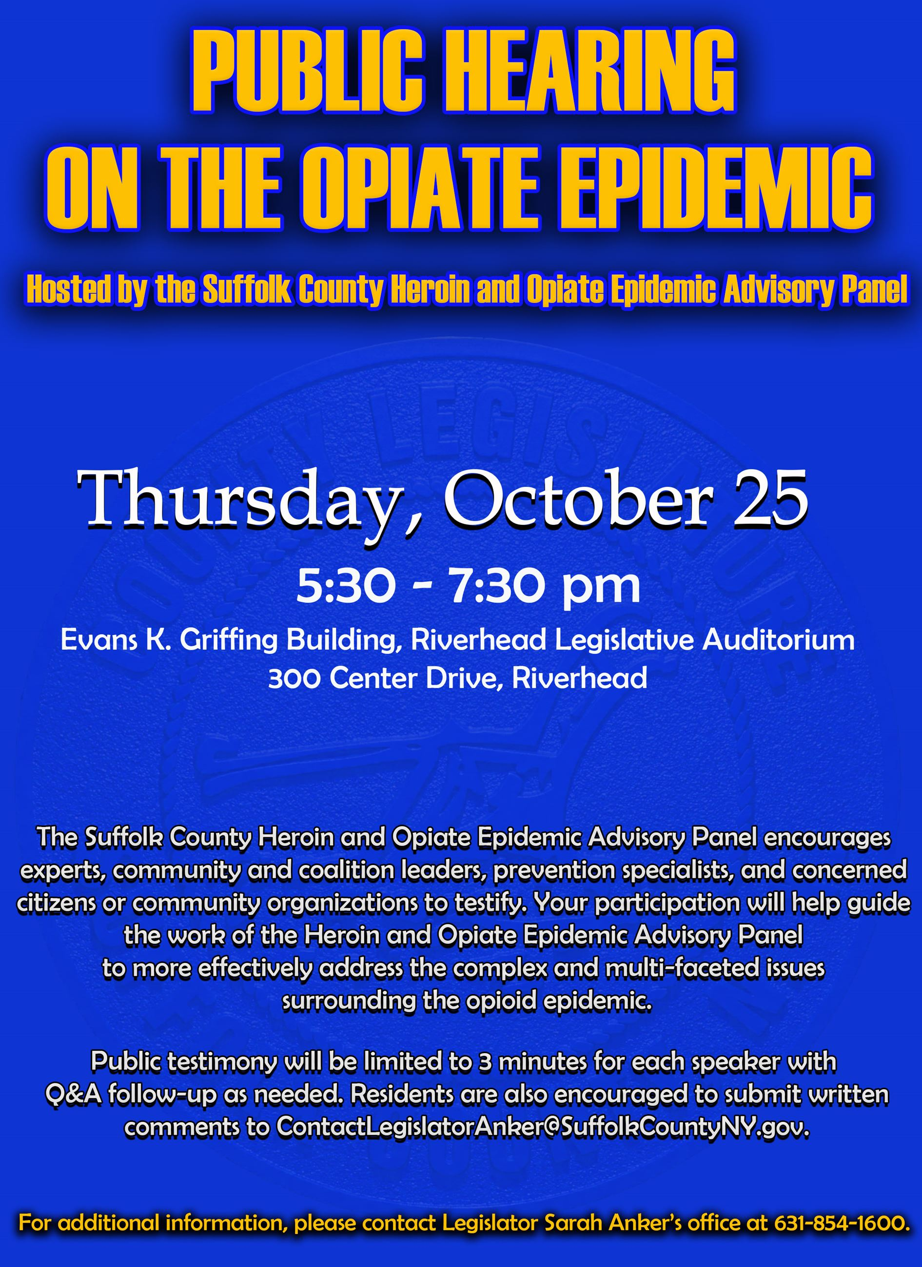 Public Hearing on Opiate Epidemic- 10.25.2018