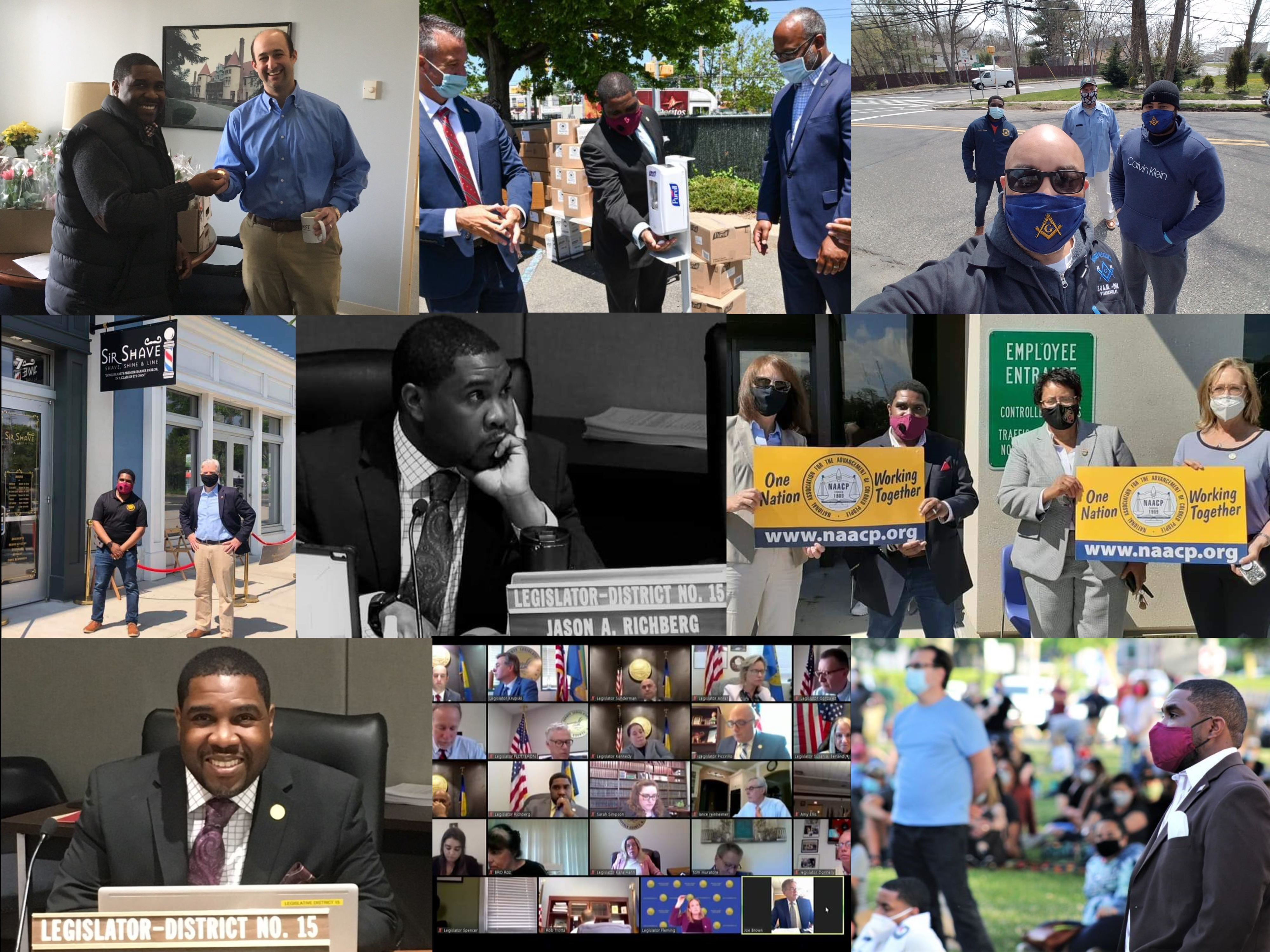 A photo collage of Legislator Richberg's first 100 days in office.