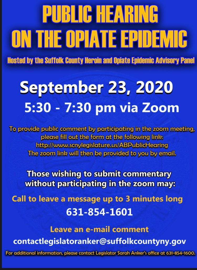 Public Hearing on the Opiate Epidemic Flyer to be held over zoom on September 23rd at 5:30 PM
