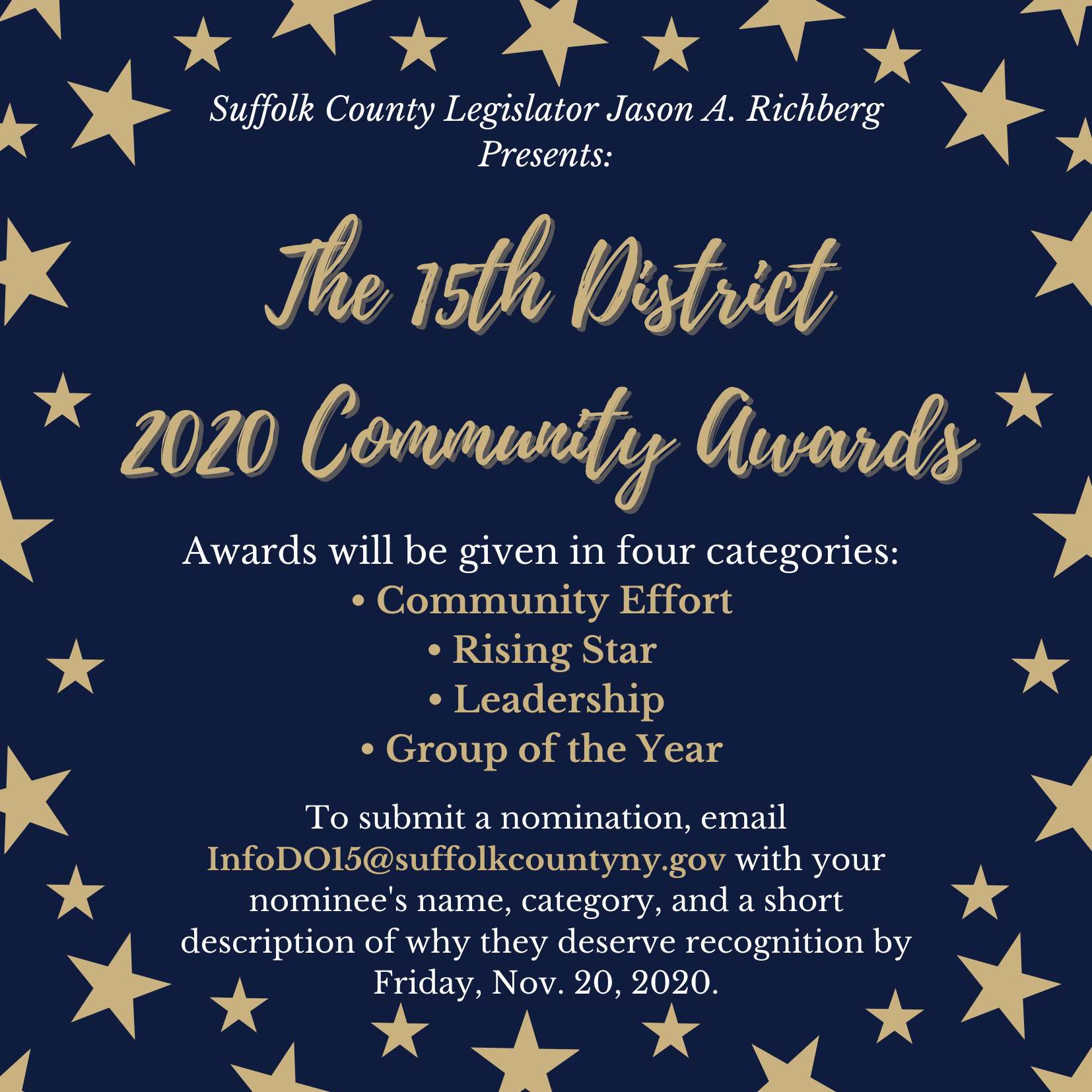 Legislator Richberg Presents: The 15th District 2020 Community Awards