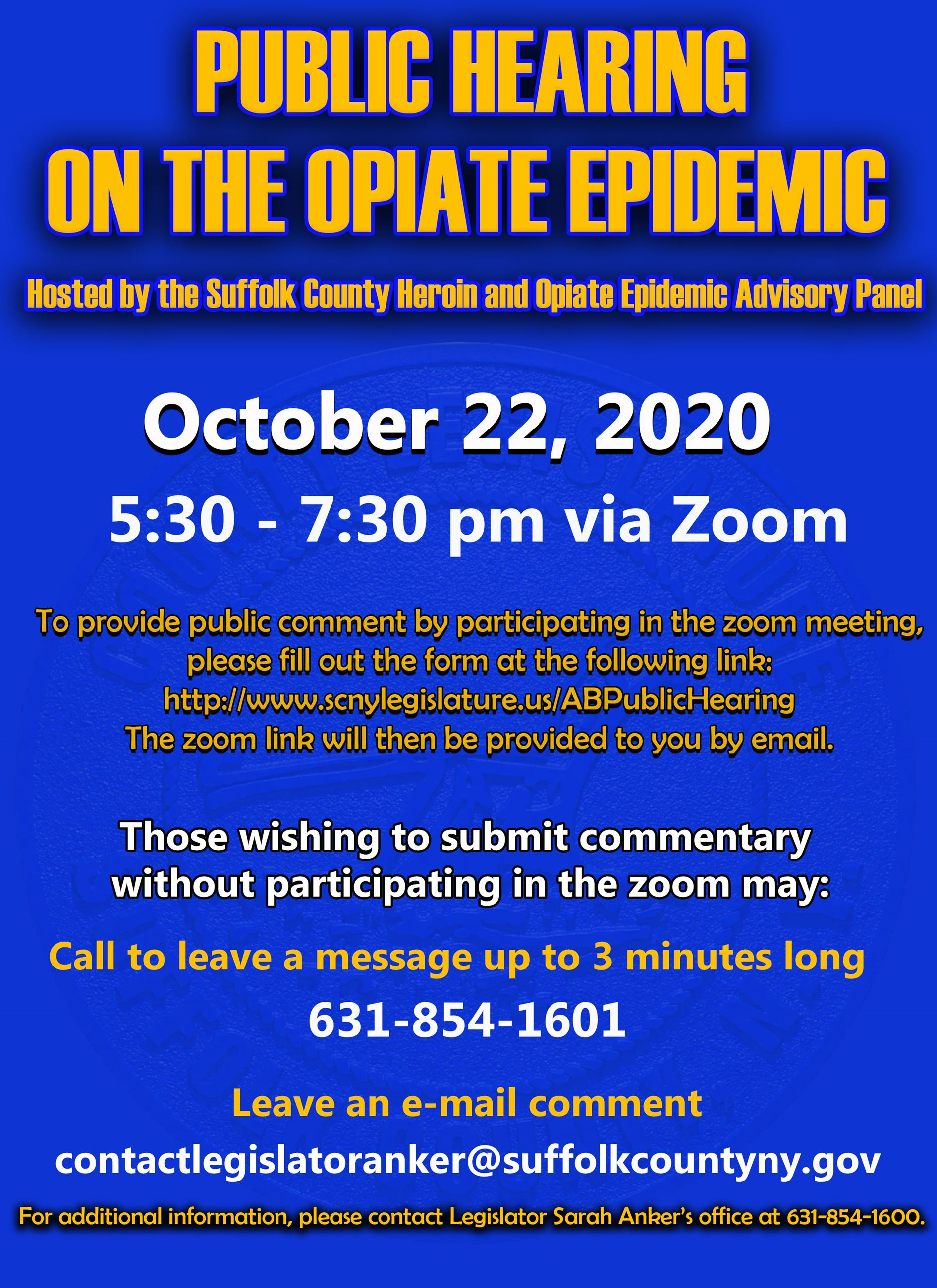 Heroin and Opiate Epidemic Advisory Panel's October Public Hearing Meeting