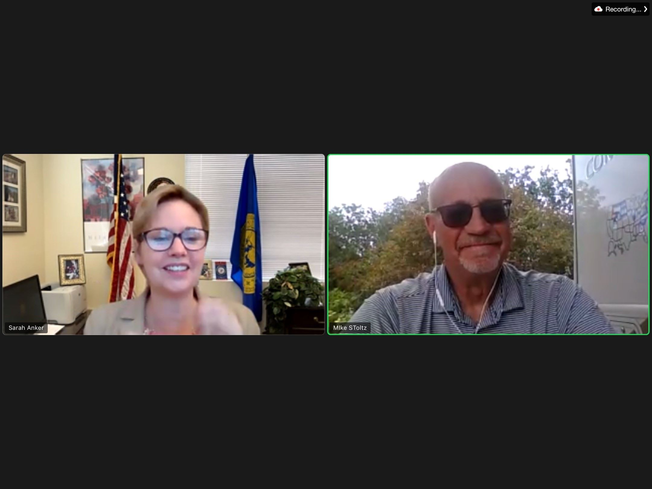Legislator Sarah Anker and Michael Stoltz join together over Zoom