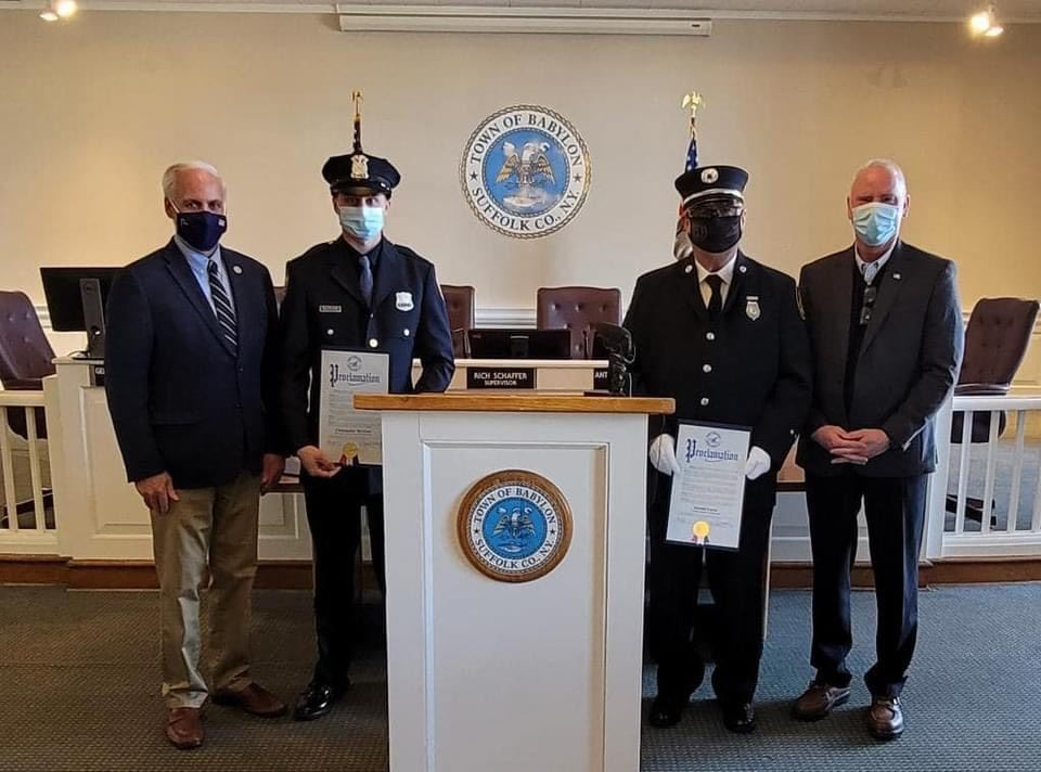 Legislators McCaffrey and Donnelly Honor Firefighters McGraw and Lucas