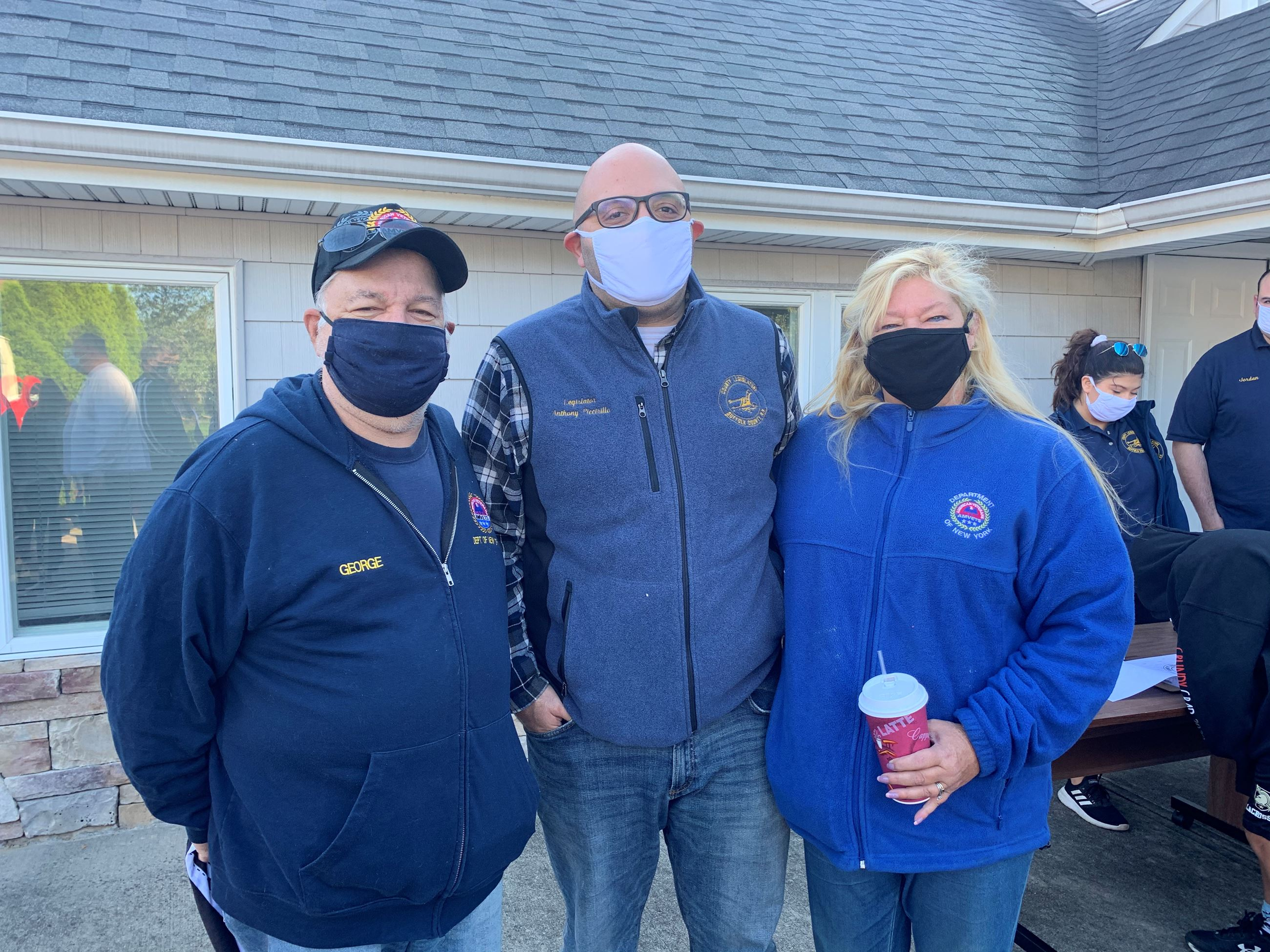 Legislator Piccirillo with Debbie and George Stondell at Holbrook Cleanup 092021
